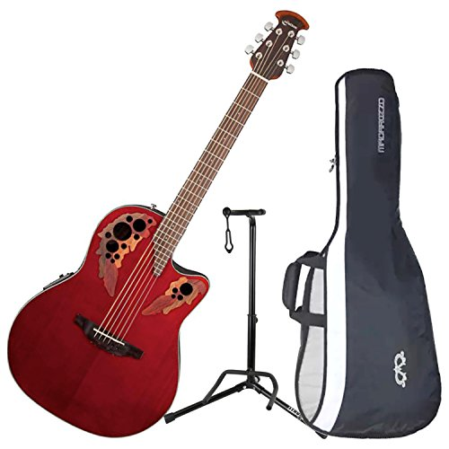 Ovation CE48-RR Celebrity Elite Super Shallow Ruby Red Acoustic/Electric Guitar with Gig Bag and Guitar Stand