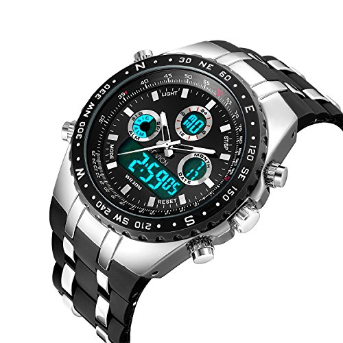 Fashion Men's Digital Analog Sport Wrist Watch Military Men WristWatch LED Light Dual-display Mens Watches with Silicone Band (Mens El Analog Sport Watchs)