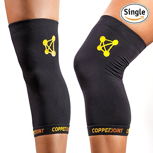 CopperJoint Copper Knee Brace, #1 Compression Fit Support - GUARANTEED Recovery Sleeve - Wear Anywhere - Small - Single