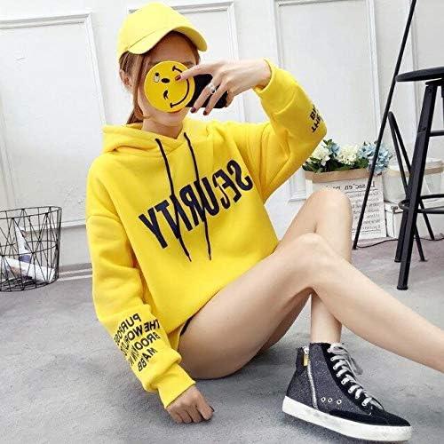 MIBKLPG Beiläufiges Frauen Hoodies Langärmliges Sweatshirt Neue Frauen Lösen Sweatshirt Gelb