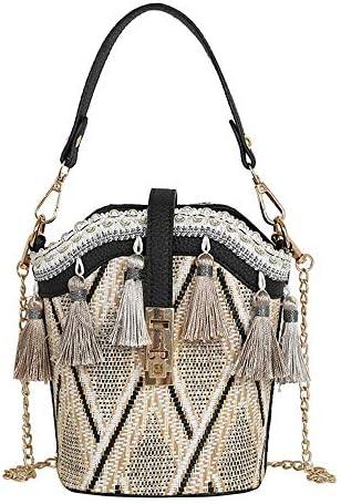 ハンドバッグ - 毎日旅行ショッピングのためのショルダーチェーン付きボヘミアビーチタッセルストロー織り女性バケットバッグレディースショルダーバッグスモールトートバッグ、14 * 19 * 8CM よくできた (Color : Black)