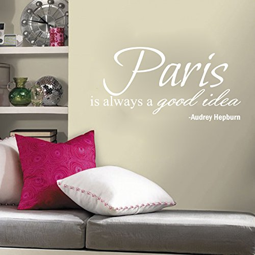 Paris Is Always A Good Idea Audrey Hepburn Quote Wall Decal 30x15 (White)