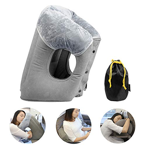 FengNiao Inflatable Travel Pillow Airplane Rest Pillow Comfortable Travel Neck Pillow for Airplanes Cars Trains Camping…