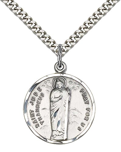 Sterling Silver St  Jude Pendant With 24  Stainless Silver Heavy Curb Chain  Patron Saint Of Desperate Situations