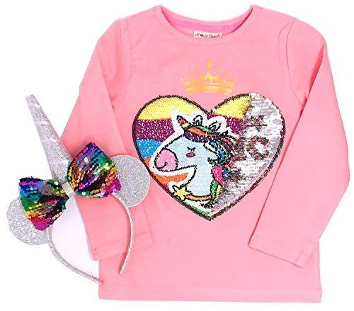 Unicorn Flip Heart Sequin Girl's T-Shirt Short/Long Sleeve with Flip Sequin Unicorn Long Horn Headband 4-12 Years (12, Long ()