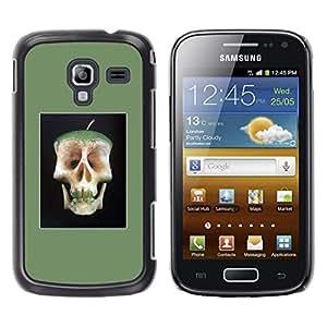 GOODTHINGS Funda Imagen Diseño Carcasa Tapa Trasera Negro Cover Skin Case para Samsung Galaxy Ace 2 I8160 Ace II X S7560M - manzana médico alejado núcleo cráneo de la muerte