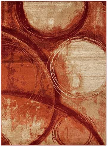 Luxe Weavers Howell Collection Red Abstract 8×10 Area Rug