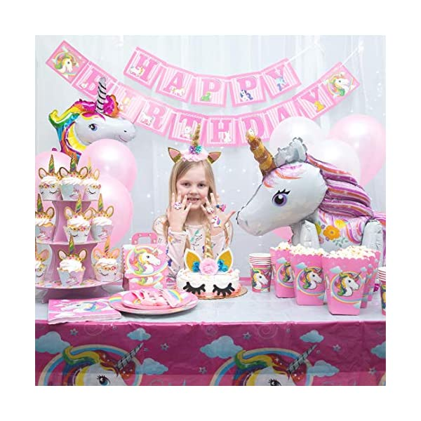 Unicorn Party Supplies 197 pc Set with Unicorn Themed Party Favors! Pink Unicorn Headband for Girls, Birthday Party… 8