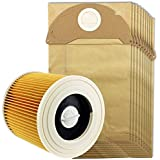 Spares2go Cartridge Filter & Dust Bags for Karcher MV2 IPX4 Vacuum Cleaners (Filter + 10 Bags)