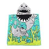 Kids Hooded Beach Bath Towel for Age 2-7 Years - Swim Pool Coverup Poncho Cape Multi-use for Bath/Shower/Pool/Swim 24' x 48' (Shark)
