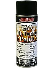 Rutland 1200-Degree F Multi-Use Hi-Temp Flat Paint Spray Can, 12 Fluid Ounce, Black