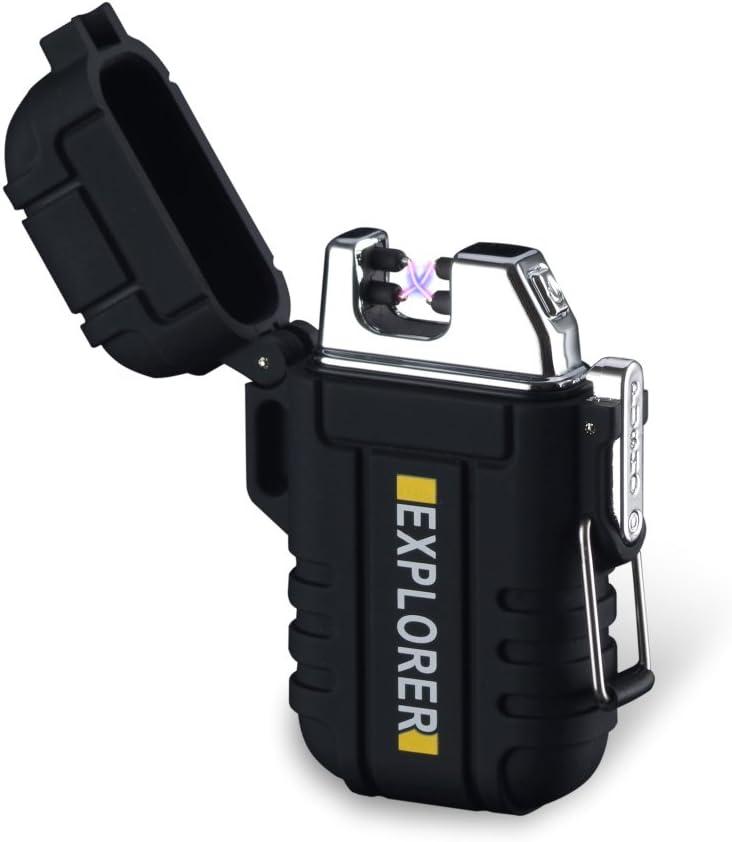 SANShine - Mechero electrónico de Doble Arco con batería de Plasma Recargable, Resistente al Viento, Impermeable y portátil, Ideal para Cigarrillos o Velas