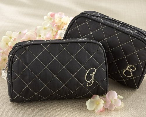 Kate Aspen Cosmetic Couture Quilted Monogrammed Make-Up Bag, Letter L (L Cosmetic Bag)