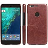 Google Pixel Case, Fettion [Thin Fit] Premium PU Leather Slim Phone Case Back Cover for Google Pixel 5.0 Inch 2016 Smartphone (Leather Cover Brown)