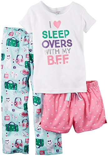Carter's Girls' 3 Piece Pj Set 373g030, I Love Sleepovers, 4 ()