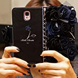KAKA(TM) 3D Handmade Elegance Blue Flower PU Leather Protective Wallet Case Cover With Chain For Samsung Galaxy S6 Edge