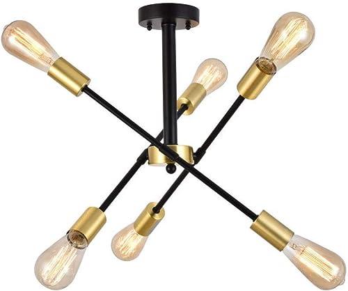 Berliget 6 Lights Industrial Living Room Mid Century Pendant Lighting Black Gold Sputnik Chandeliers, Brushed Brass Ceiling Light for Bedroom, Dining Room, Bar, Restaurant
