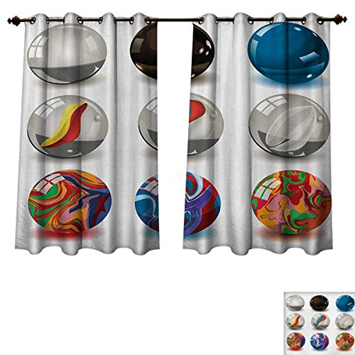 Pearls Blackout Thermal Backed Curtains for Living Room Collection of Different Marbles with Glass and Porcelain Materials Like Bubbles Artwork Window Curtain Fabric Multi W72 x L45 inch