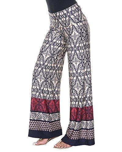 White Mark Women's Wide Leg Palazzo Pants Printed Lattice Demask in Beige & Navy - ()