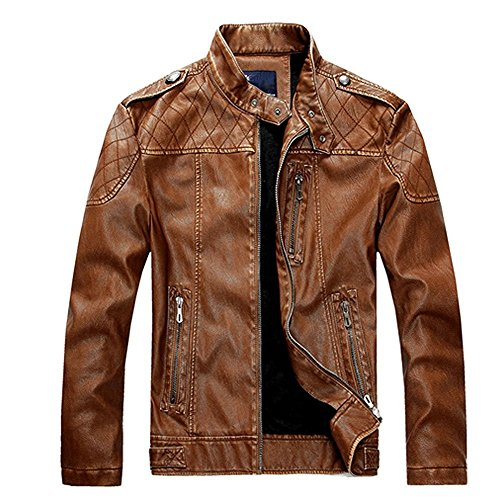 Rider Coats Zhuhaitf Cool Jackets Mens Synthetic Leather Stand Moto Fashion Yellow Collar rS1qvzwrx