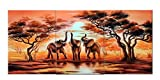 Wall Art African Elephants Canvas Prints on Canvas Wall Art 12'' x 16'' x 3 Panels Landscape Pictures Paintings Artwork Framed for Living Room Home Decoration
