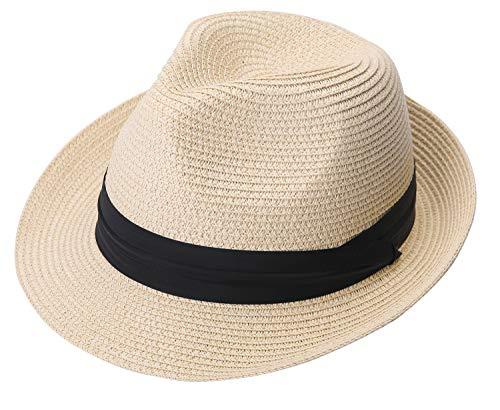 Lanzom Men Summer Straw Foldable Roll up Hat Fedora Beach Sun Hat UPF50+ (A-Beige)