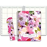 Hardcover 8 Period Teacher Lesson Plan; Days Vertically Down The Side (W208) (+) Bonus Clip-in Bookmark Spring Floral