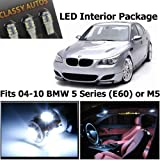 Classy Autos BMW 5 Series White LED Lights Interior Package Kit E60 M5 (12 PIECES)