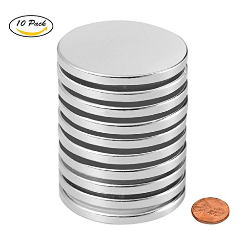"""Be Magnet 10pcs 1.26""""D x 0.08""""H Powerful Neodymium Disc Magnets, Magntic Grade N52 Strong, Permanent, Rare Earth Magnets for Multi-Use"""