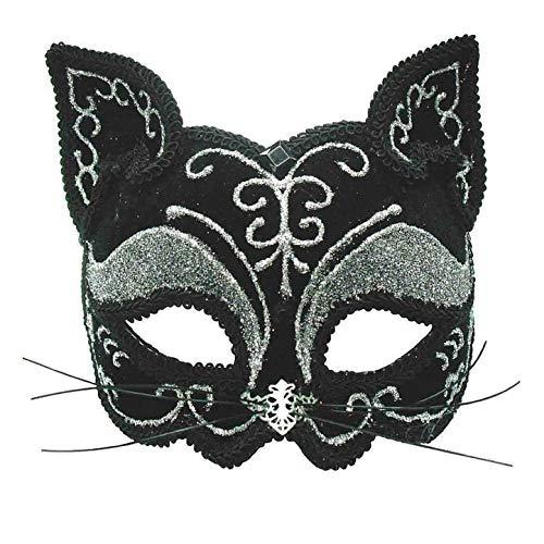 Bristol Novelty EM365 Cat Decorative Eye Mask on Headband, Black, One Size