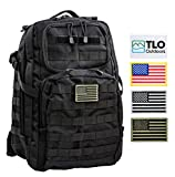 TLO TacPack24 - Tactical Rush Backpack with MOLLE System, Hydration Pocket, 40L Storage (Black) Plus Bonus Pack of Four SWAPPABLE Velcro Patches and Three Flags