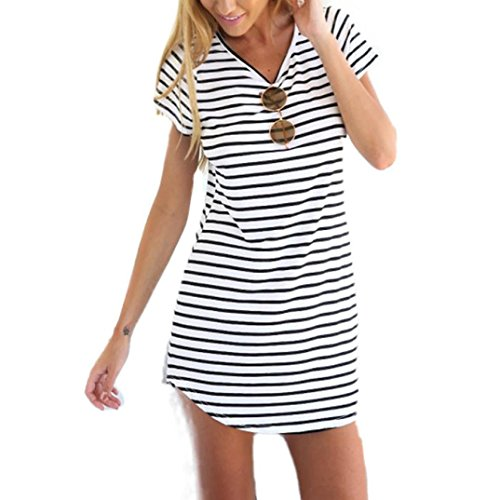 VEZAD Sleeve Striped New Women Crew Neck Short Loose T-Shirt Mini Dress by VEZAD