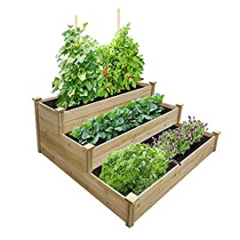 """Best Value 3-Tier Cedar Raised Garden Bed Planter 48"""" W x 48"""" L x 21"""" H 107 GREENES VALUE RAISED GARDEN BED: Greenes Fence Value line of cedar raised garden beds allows you to create an open-bottom frame to support your garden. Raised garden beds give your plants the room they need to grow in the location of your choice. Our cedar frame is made in the USA of North American Cedar and left untreated, which means it is organic and safe to grow vegetables, herbs, and fruits in. VALUE LINE: With boards that are unsanded and thinner than our Original and Premium lines, our Value raised garden beds allow you to have a beautiful garden without the premium price. EASY TO SET UP: Greenes Fence uses dovetail interlocking joints, which makes assembly a breeze. Each board slides into the corner posts without tools to form a secure open-bottom garden frame. Every corner post is routed on all four sides for easy assembly and expansion. The decorative tops can be added to each post using a screwdriver."""