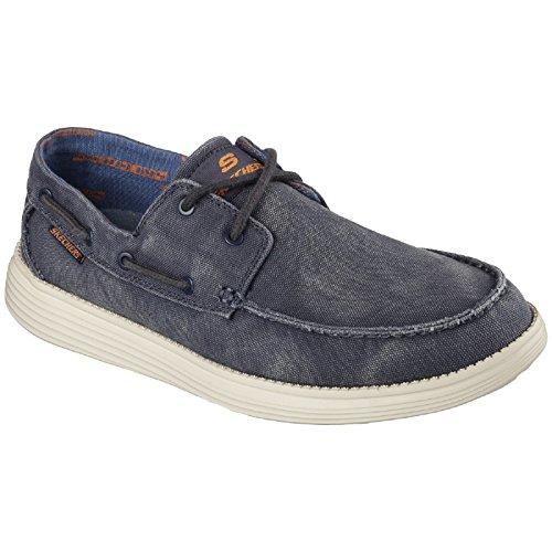 Skechers Zapato Nautico con Cordones Modelo Status Melec Hombre Caballero Azul marino