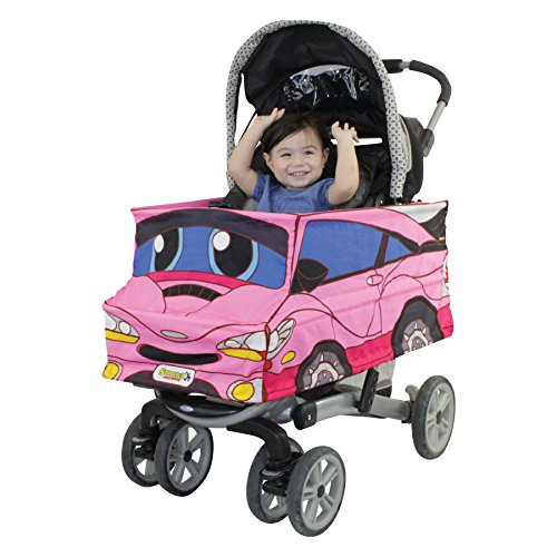 Pink Car Stroller Costume Turns Stroller Into a Baby, Toddler Ride On Car -