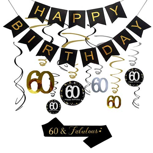 60th Birthday Party Decorations, 60th Birthday Gifts for Women/Men, Happy 60th Birthday Banner, Sparkling Celebration 60 Hanging Swirls, 60 and Fabulous Sash, 60th Birthday Party Supplies Anniversary]()