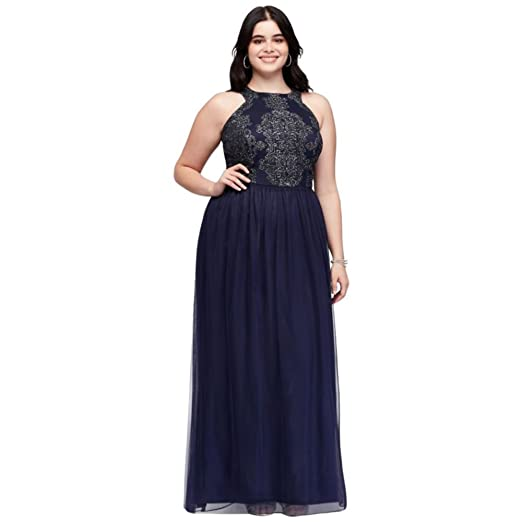 Caviar Beaded Tulle Plus Size Prom Dress With Open Back Style