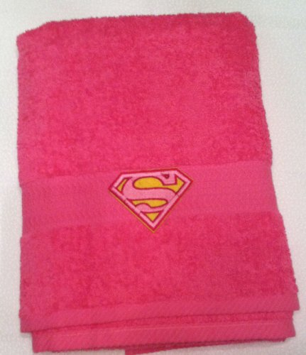 (Abuela Chachy's Pink Supergirl Logo ~ Embroidered Bath Towel)