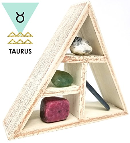 TAURUS Crystal Healing Set / Tumbled Stones and Wooden Geometric triangle shelf in Gift Box / Astrology Sign Present Taurus Birth Stones