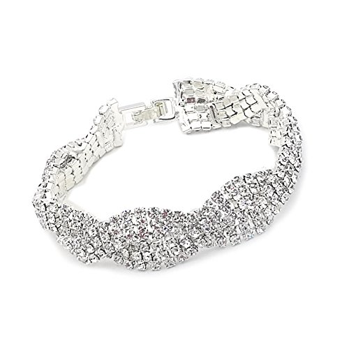 - JSEA Womens Clear Rhinestones Braid Link Silver Tennis Bracelet Wedding Jewelry