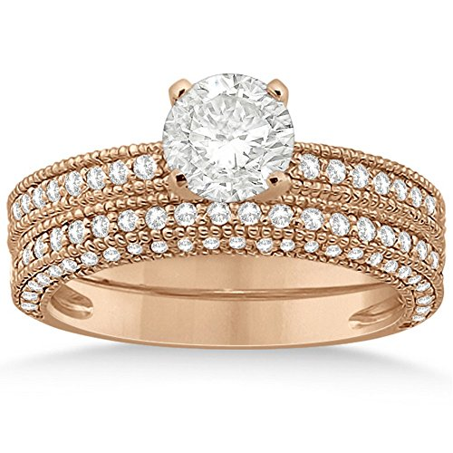 Vintage Semi-Eternity Round Cut Diamond Solitaire Bridal Set w/ Milgrain in 18k Rose Gold (Round Solitaire Semi Eternity Ring)
