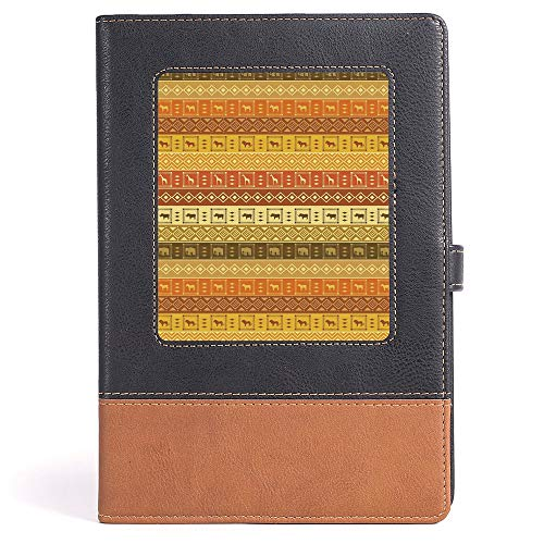 Hardcover Executive Notebook - Safari Decor - Case Bound Notebook - Safarisquare Diamond Pattern on Striped Background Native Tribal Artwork - 100 sheets/200 pages - A5/6.04x8.58 in