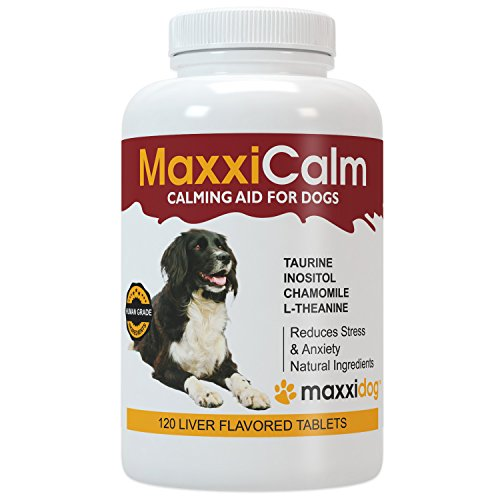 MaxxiCalm Calming Aid for Dogs with Canine Behavior Training Guide - Supports Calm Balanced Behavior – Helps Pets Coping with External Stresses like Fireworks - Non-Drowsy - 120 Tablets