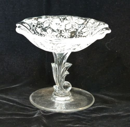Vintage Fostoria Etched Glass Italian Lace Pedestal Compote Candy Dish With Gold Trim on ()