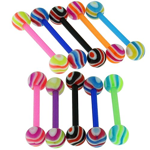 (14Gx3/4 (1.6x19MM) Flexible Straight Barbell with 6MM UV Multi Color Wave Ball Tongue Piercing Rings - 10 Pieces Assorted Color as Show)