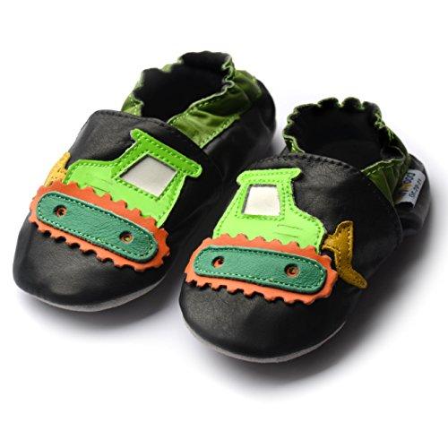 jinw Brentwood Designed by amsomo–Digger Black–Soft Sole–Excavadora–Zapatillas–Piel puschen–Patucos Negro - negro