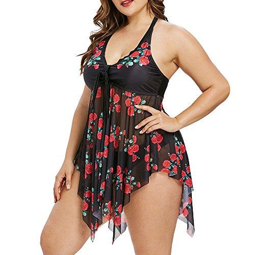 - CharMma Women's Plus Size Halter Neck Open Back Rose Print Mesh Tankini Set (Black, 20)