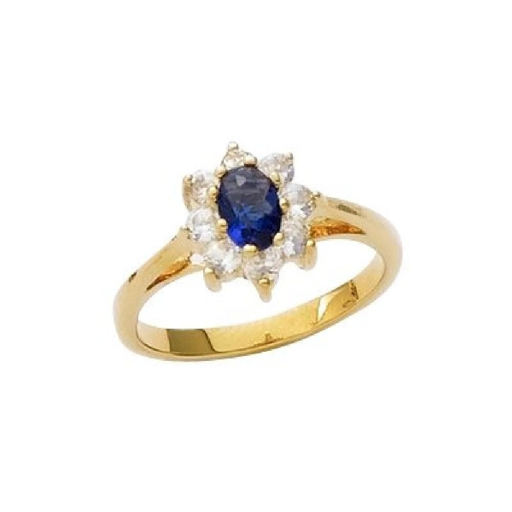 So Chic Jewels 18k Gold Plated Blue Glass /& Clear Cubic Zirconia Marquise Ring