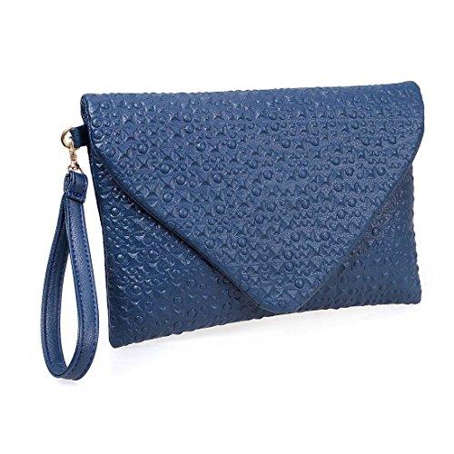 Faux Leather Clutch - BMC Unique Deep Ocean Blue Faux Leather Envelope Style Studded Square Circle Pattern Fashion Clutch