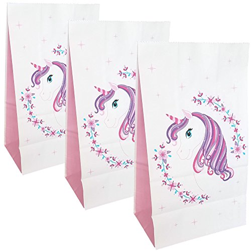 Unicorn Party Bags-Unicorn Gift Bags-Party Favor Bags for Girls-Paper Loot Treat Candy Goodie Bags for Kids Birthday-Baby Shower Unicorn Party Supplies Deocration for Cute Unicorn Theme Party 24 pack